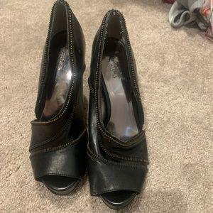 Black zipper heels